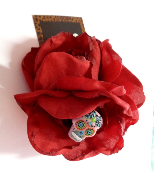 Voodoo Betty's Calavera Red Roses Hair Accessory