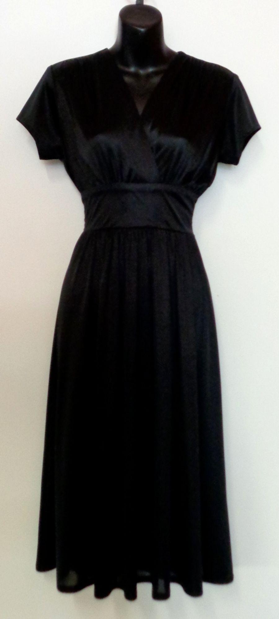 Vintage 1970's Black Empire Line Wrap Midi Disco Dress