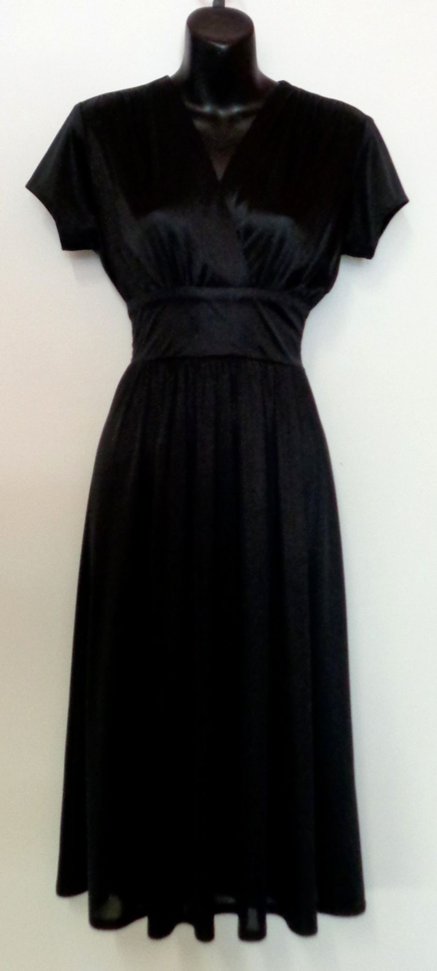 Vintage Women's 1970's Black Empire Line Wrap Midi Disco Dress