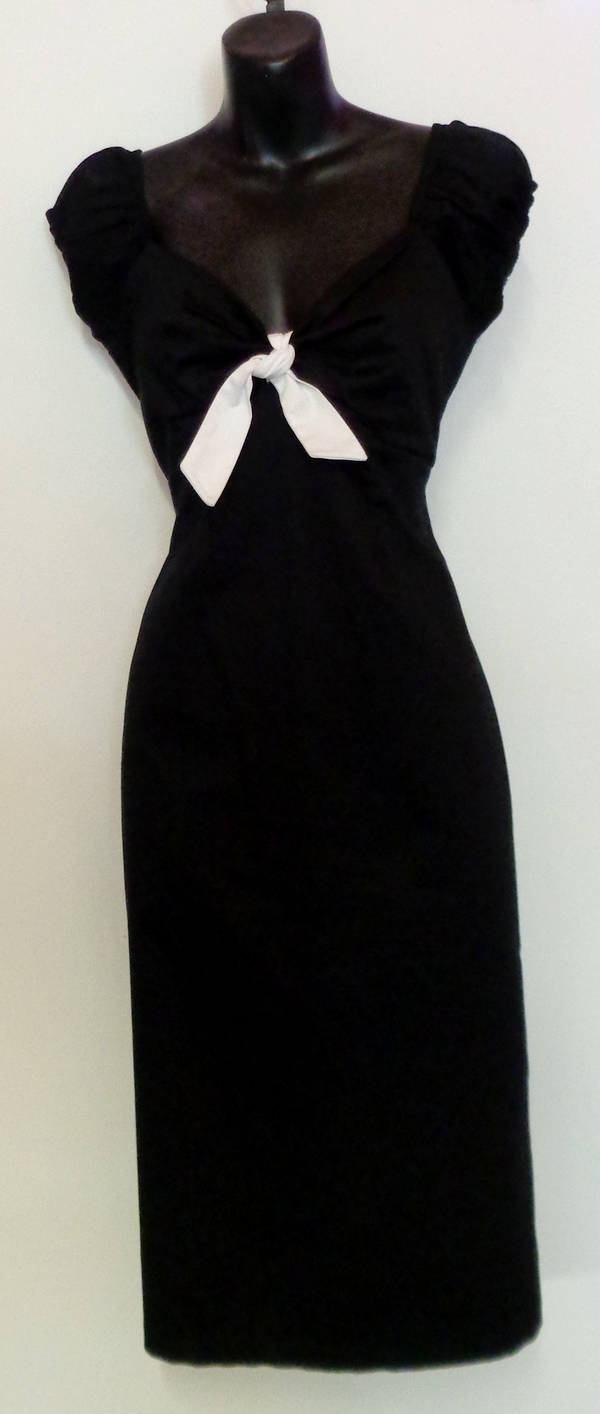 Collectif Dolores Black 1950s style Pencil Fit Wiggle Dress