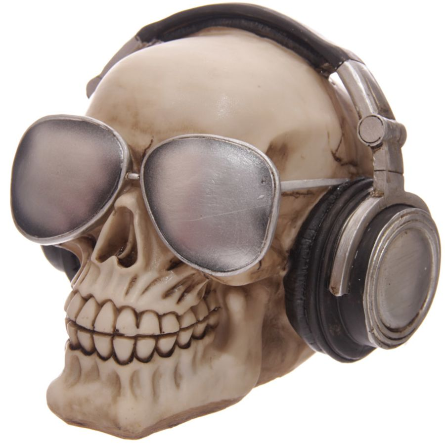 Sunglasses And Headphones Skull Money Box