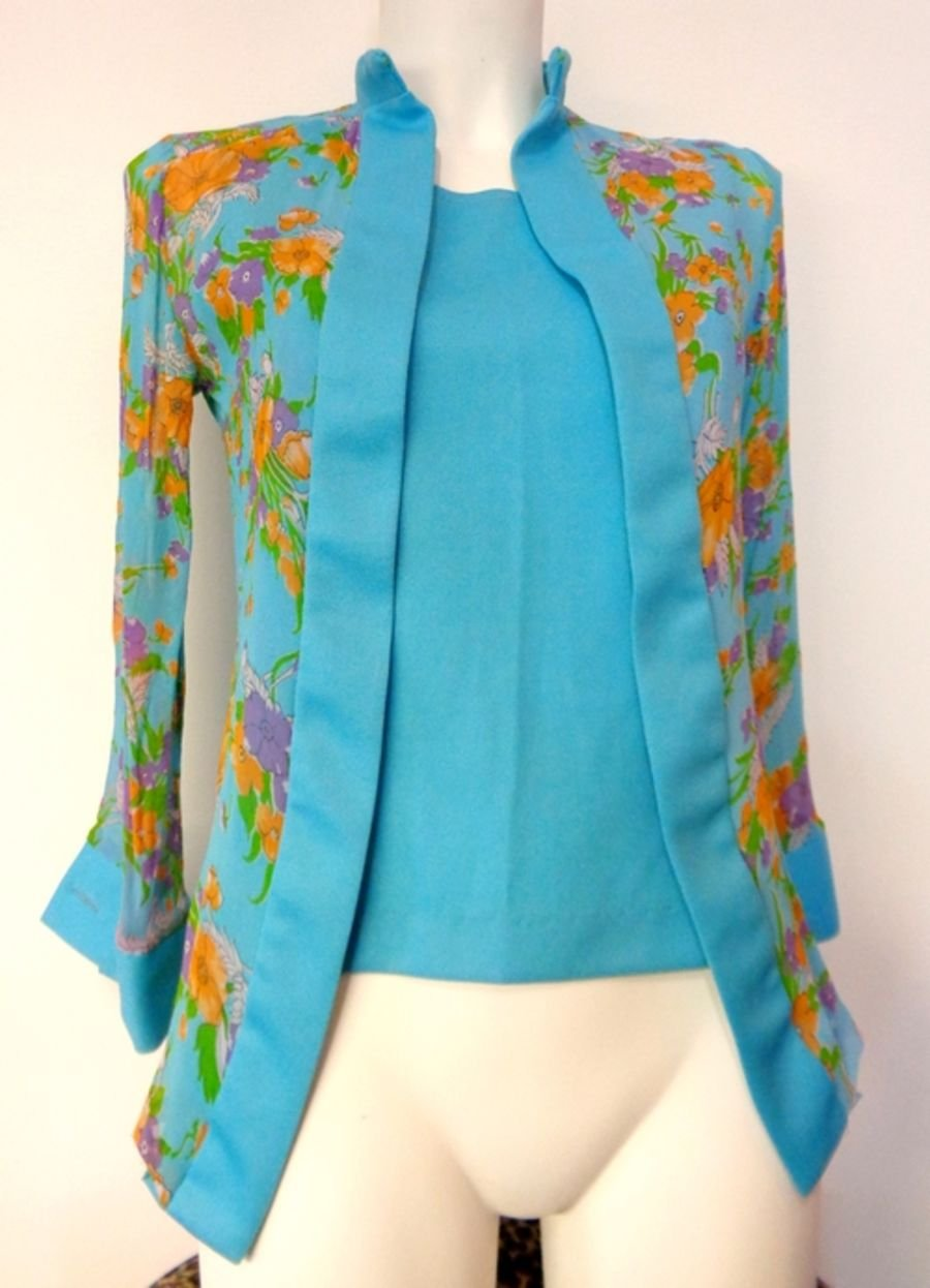 Vintage 1970s  Chiffon Floral Layer Two Piece Vest and Blouse Shirt