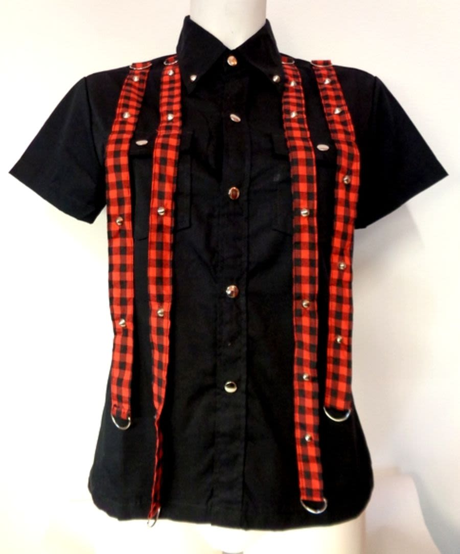 Men's Black & Tartan Detail Short Sleeve Shirt