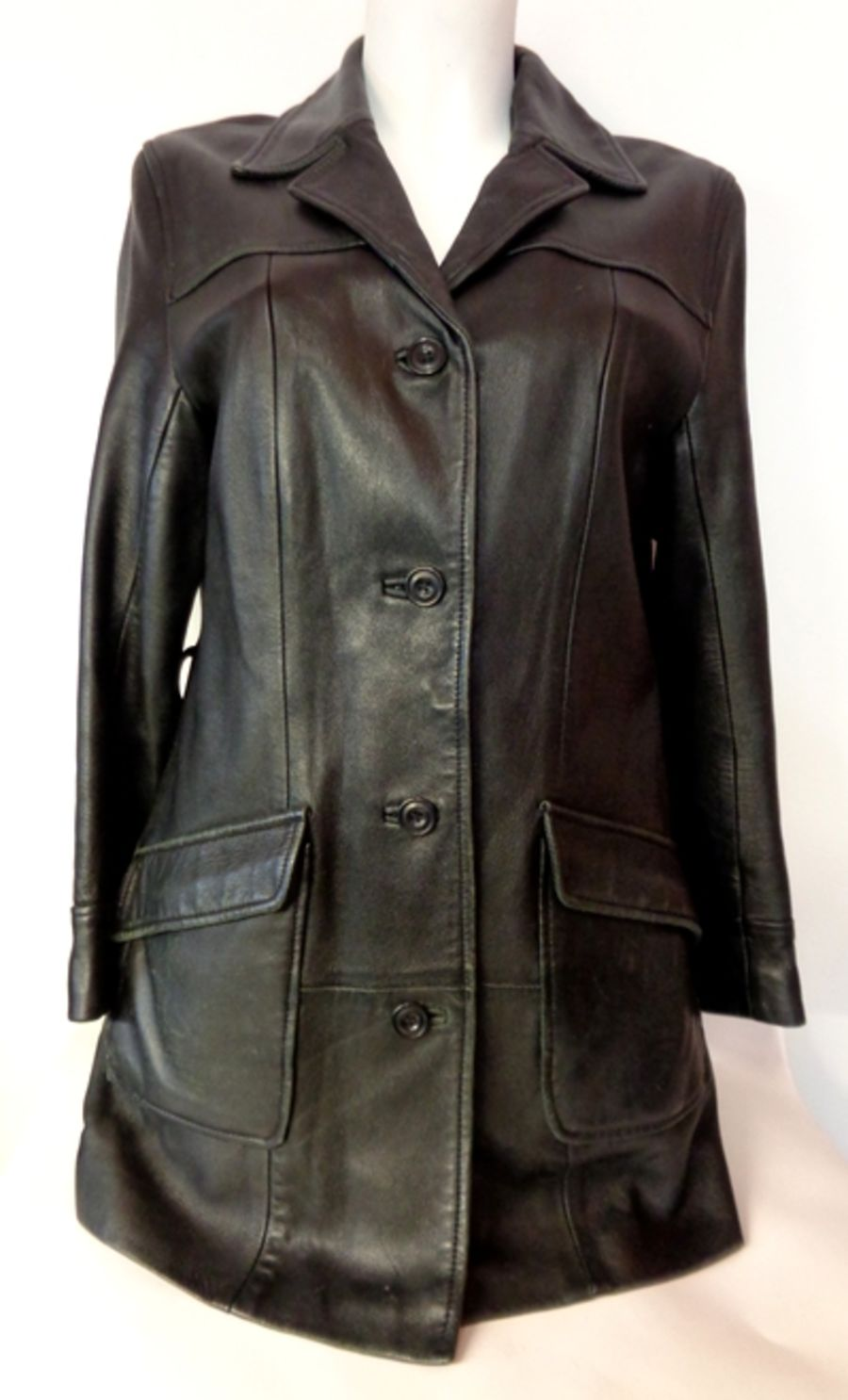 Vintage 1980's Black Leather Fitted Mac Style Trench Coat