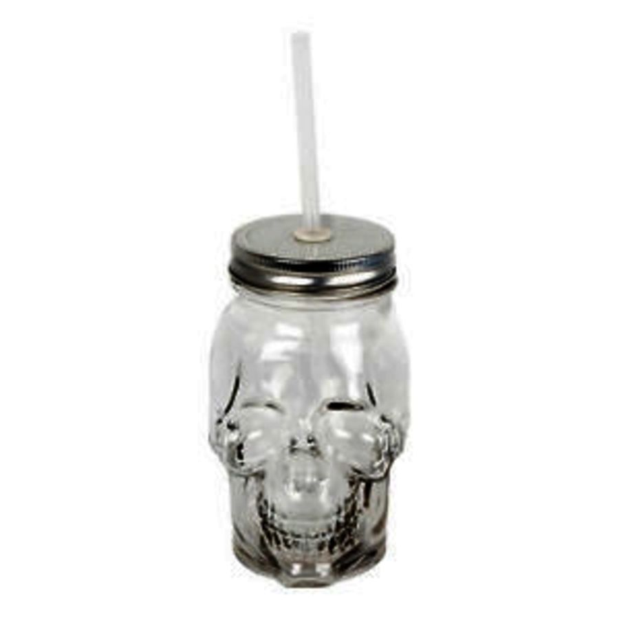 Screw Top Skull Mason Jar Drinking Glass and Straw