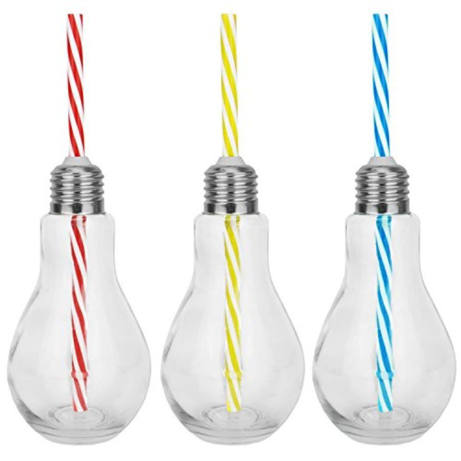 Lightbulb Drinking Glass with Straw