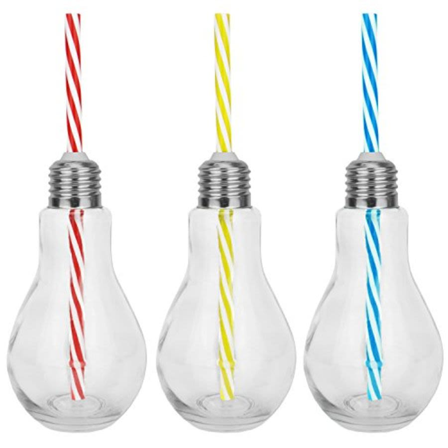 Lightbulb Drinking Glass with Straw