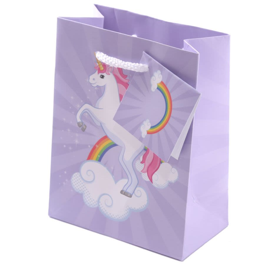 Lilac Unicorn Motif Gift Bag Small