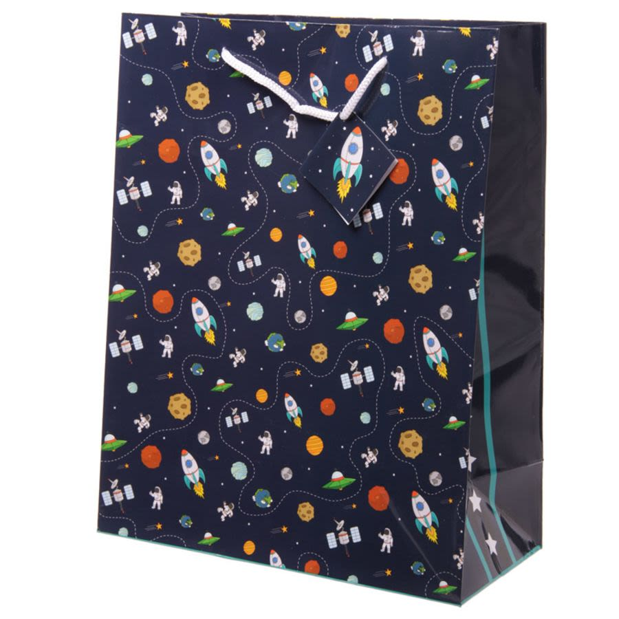 Rocket Ship Planet Motif Gift Bag