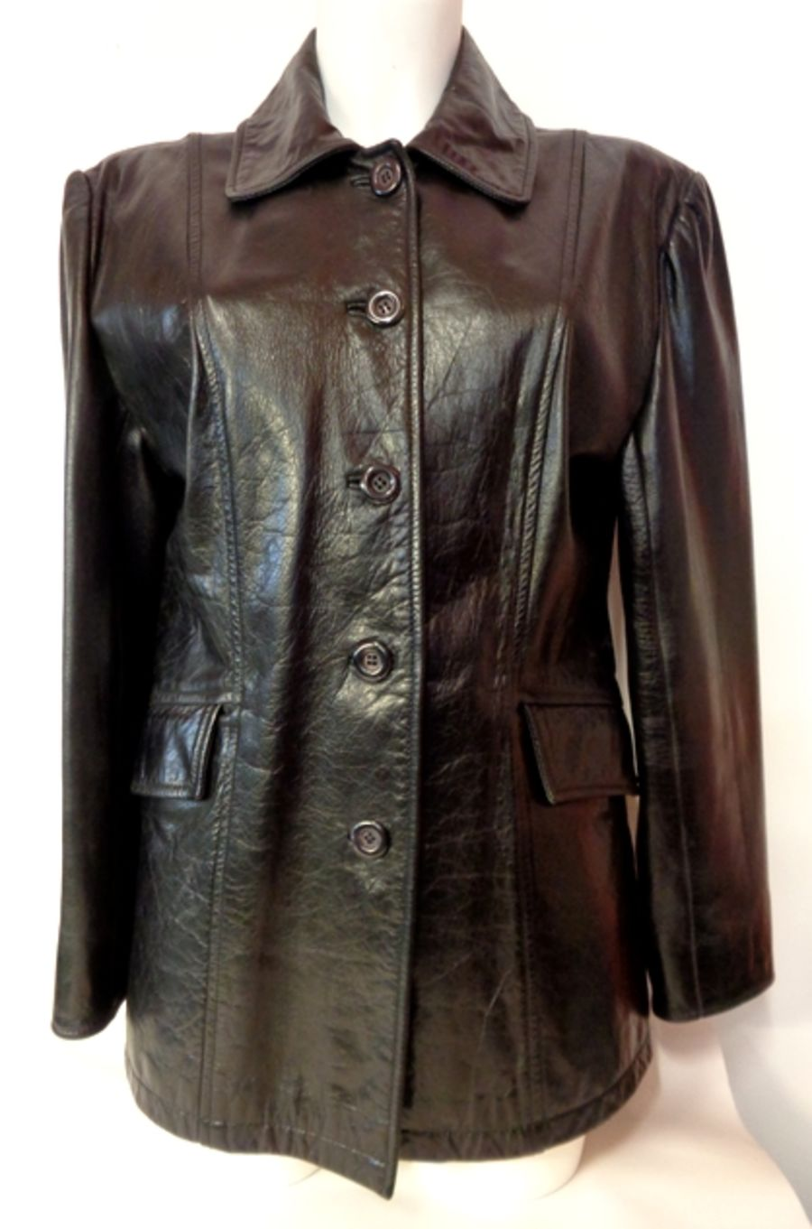Vintage 1970's Black Mac Style Leather Jacket