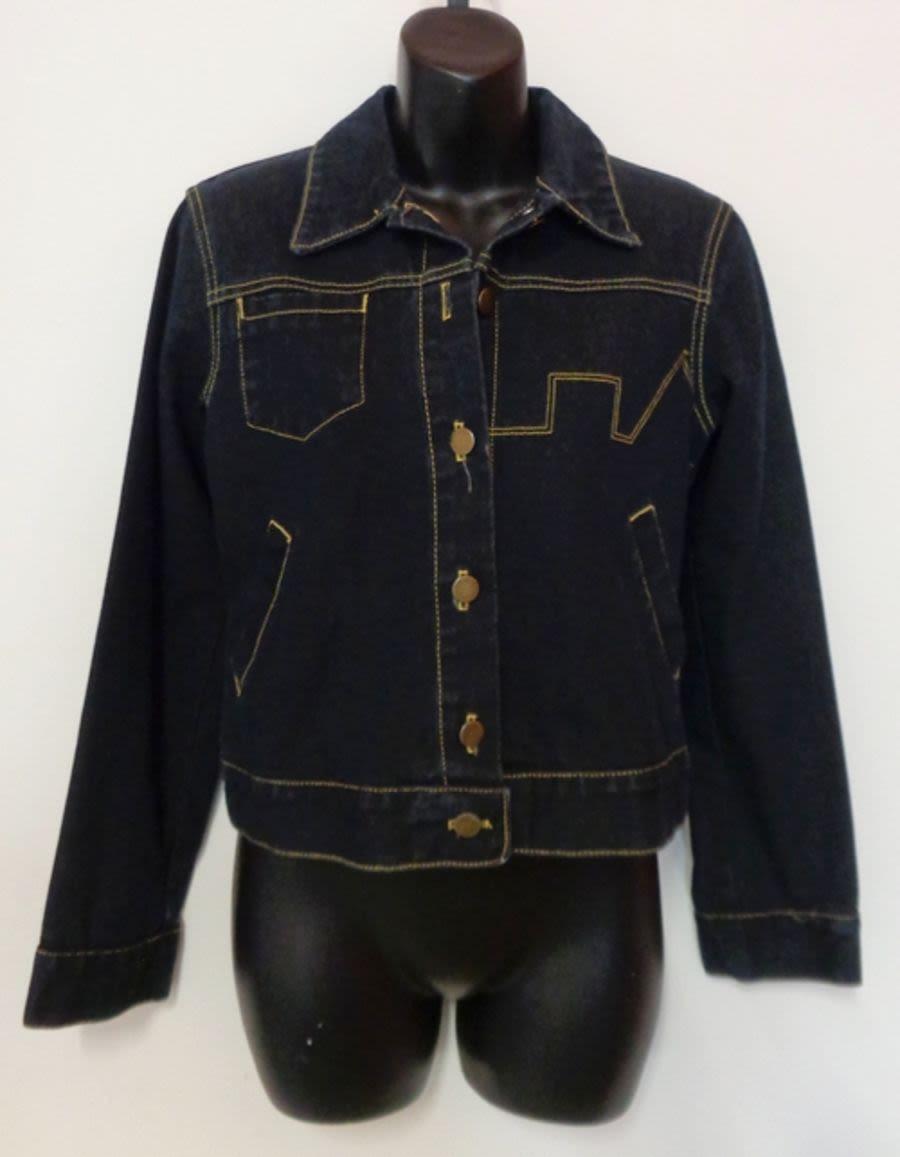 Vintage Paul Frank Cropped Dark Denim Jacket