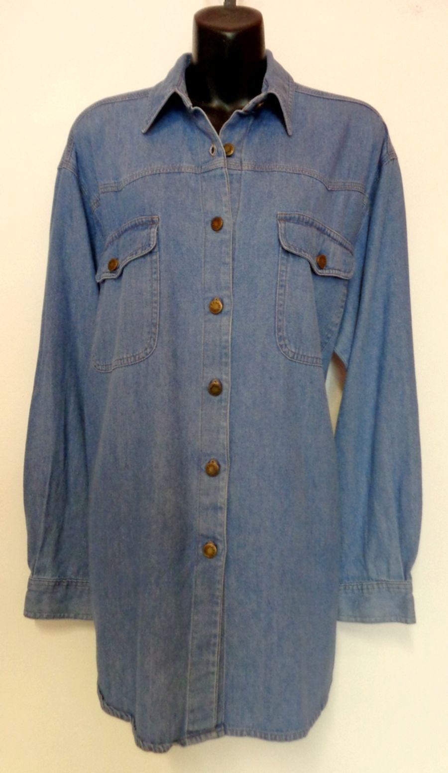 Vintage 1990's Blue Denim Shirt with Brass Button Poppers