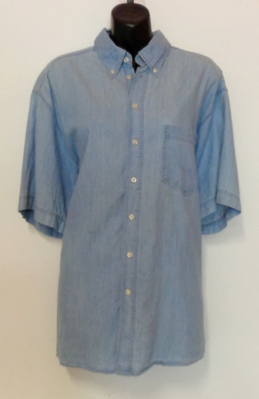 Vintage Oversized Short Sleeve Denim Shirt