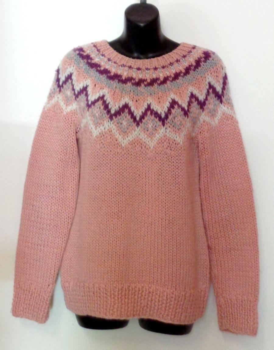 Vintage Baby Pink Fair Isle Soft Knit Jumper