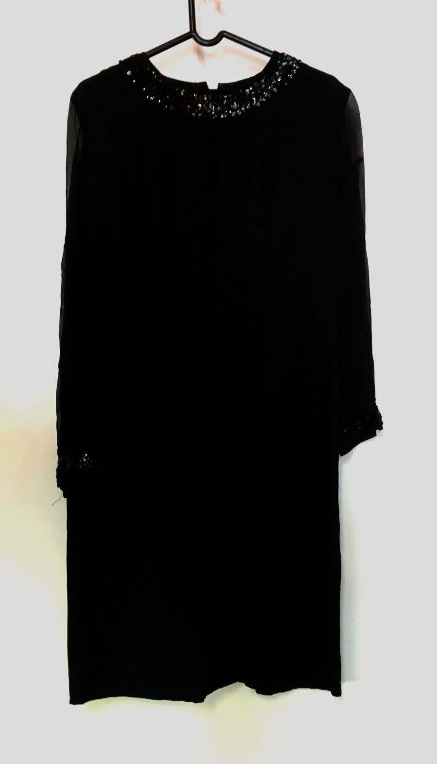 Vintage 60's Sequin Sheer Sleeve Detail Black Midi Dress