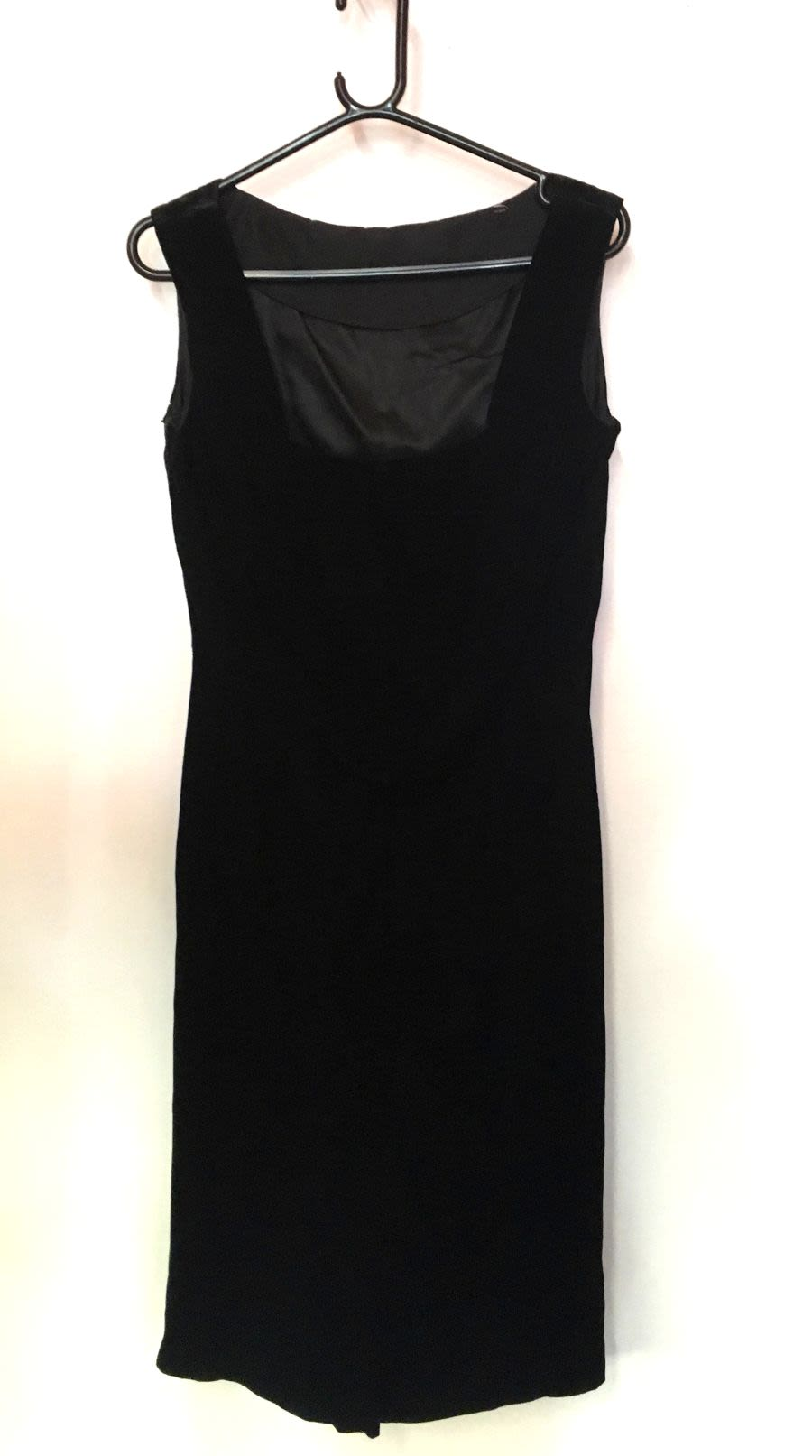 Vintage Women's 1980's Black Velvet Drape Detail Wiggle Fit Dress
