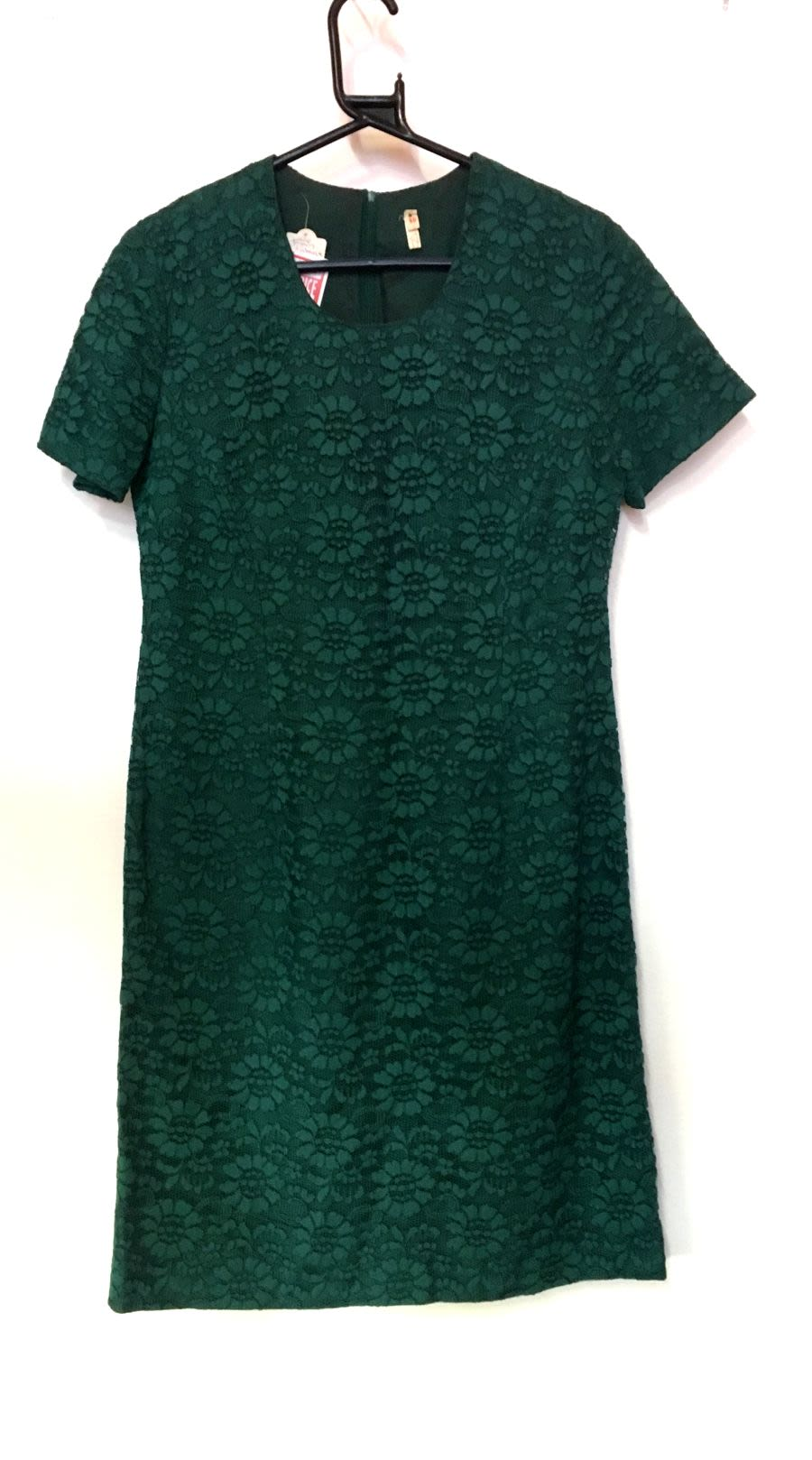 Vintage Women's 1960s Green Dress With Floral Lace Detail