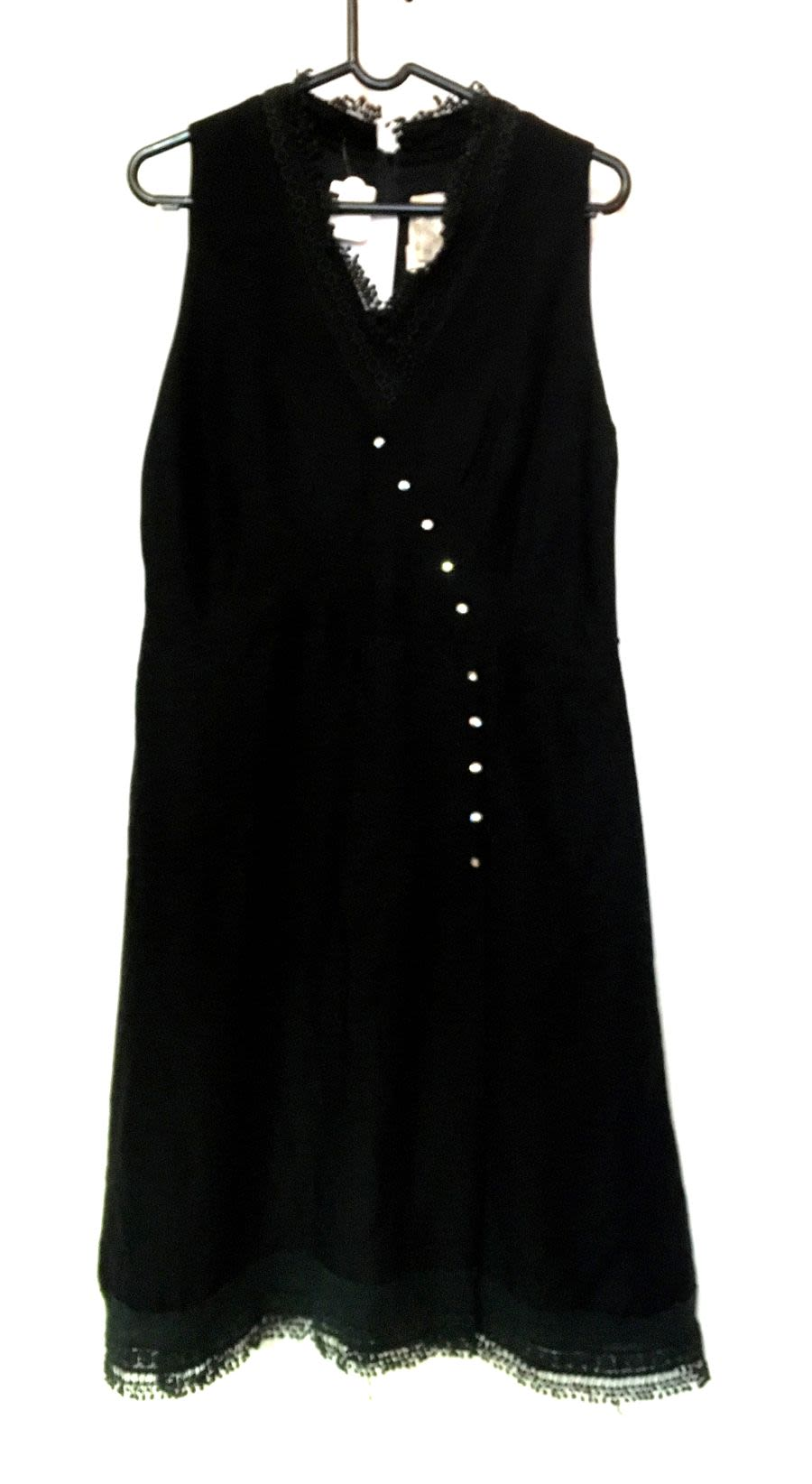 Vintage Women's 1960's Black Dress With Lace and Diamante Detail