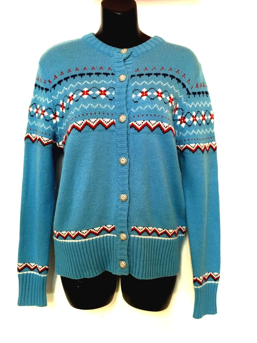 Vintage Womens Cardigan in Blue with Knitted Pattern