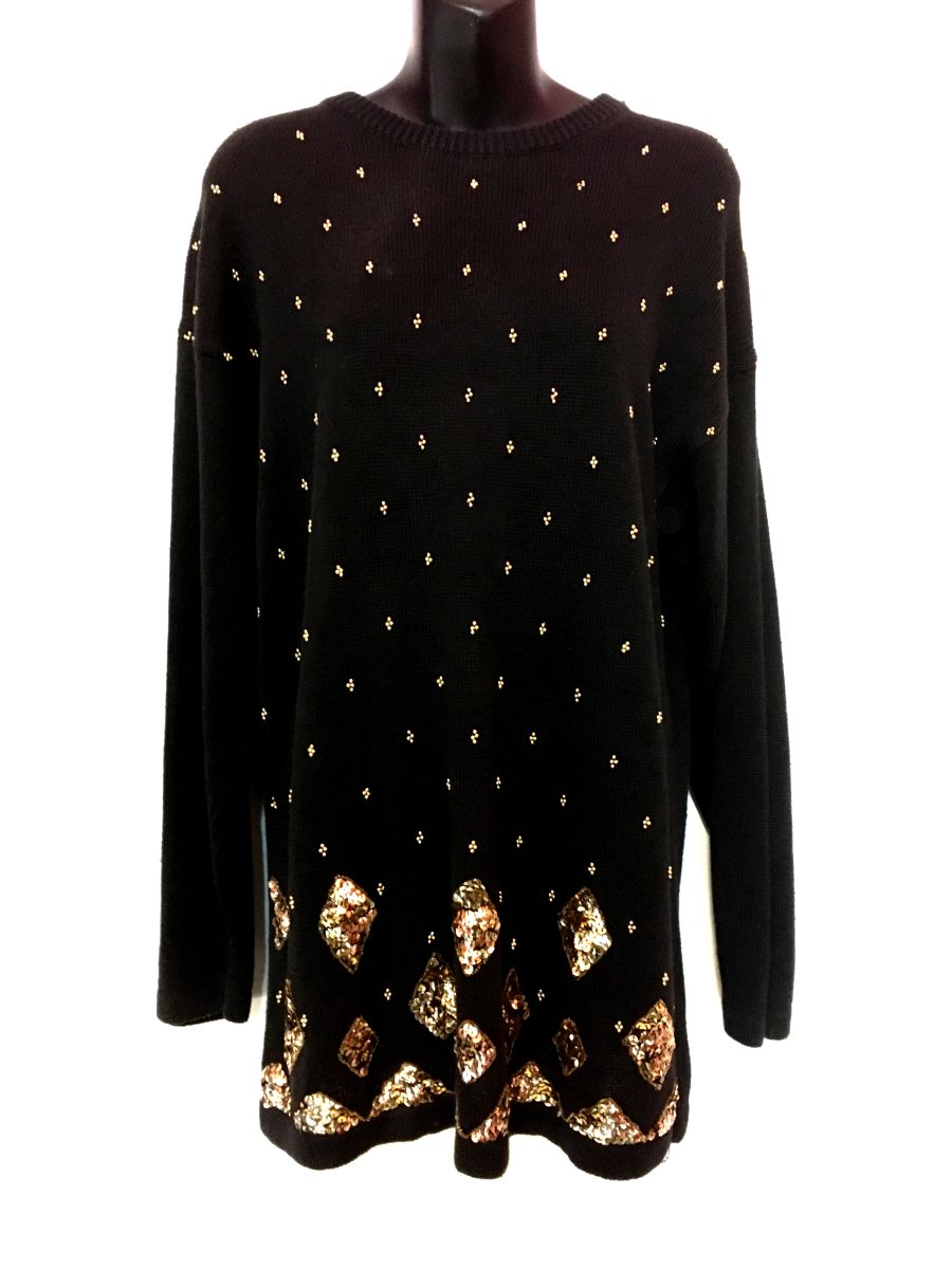 Vintage Womens Black Jumper with Gold Bead and Sequin Details