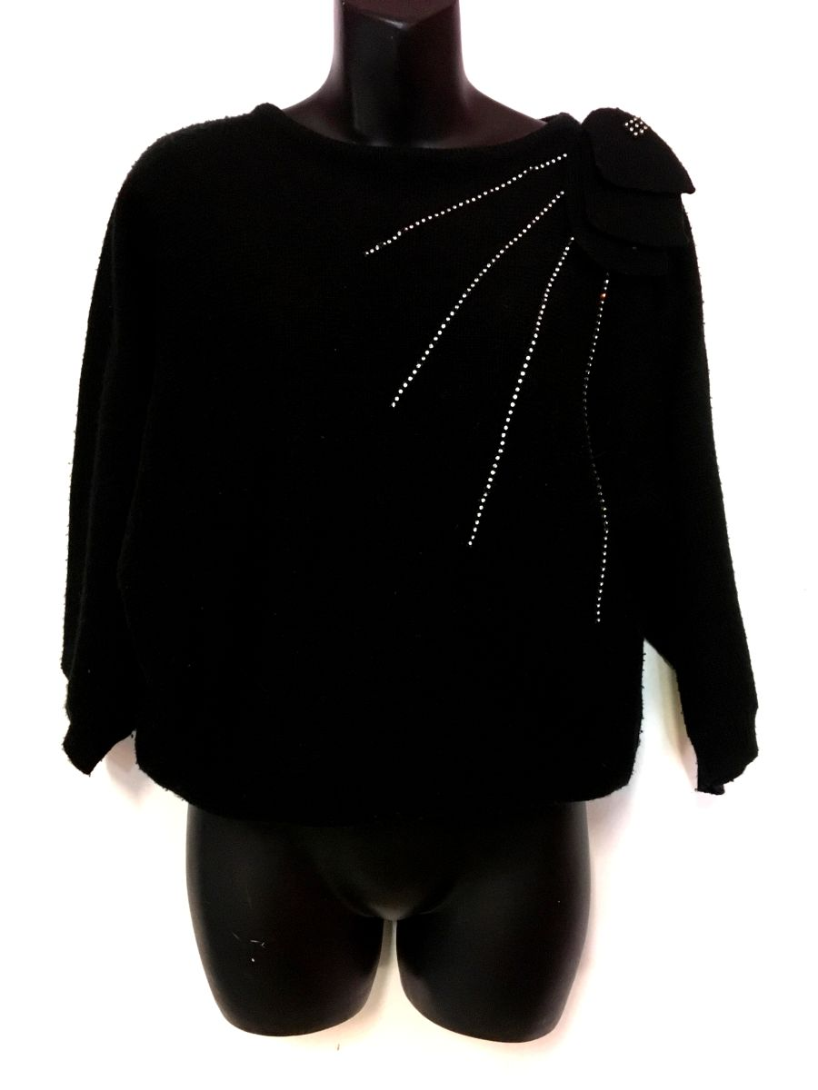 Womens Vintage Black Jumper With Silver Detail
