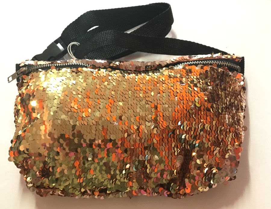 Gold Mermaid Touch Reversible Sequin Bum Bag