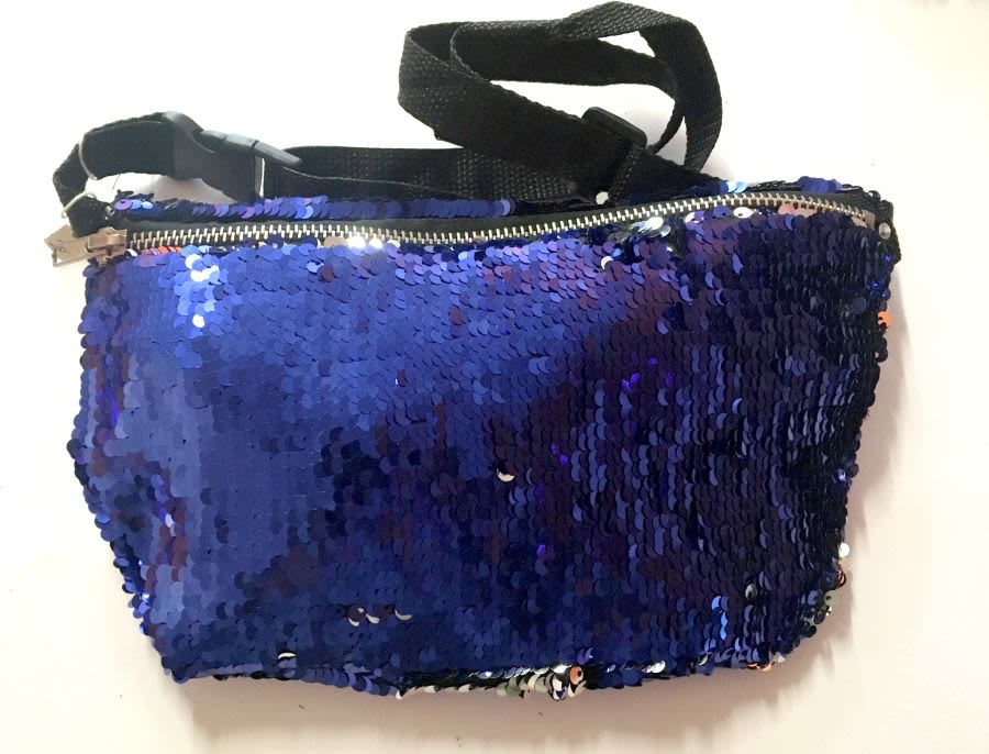 Blue Mermaid Touch Reversible Sequin Bum Bag