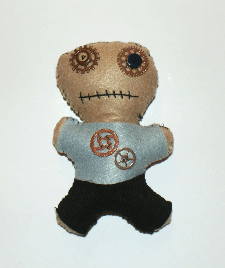 Steam Punk Hand Made Cog Voodoo Doll