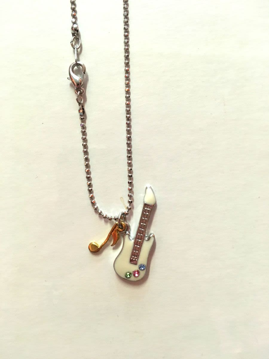 Guitar and Music Note Necklace