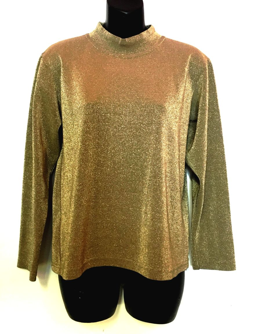 90's Gold Sparkle Mock Neck Top