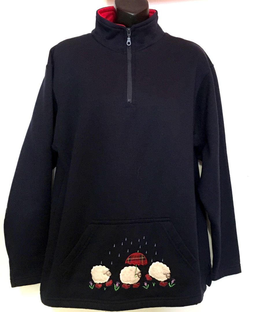 Vintage Womens 90s Navy Blue Sheep embroidered Fleece Sweatshirt
