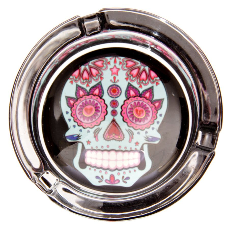Blue Day Of The Dead Skull Ashtray