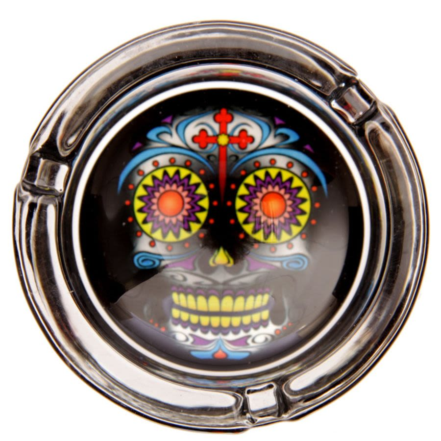 Black Day Of The Dead Skull Ashtray