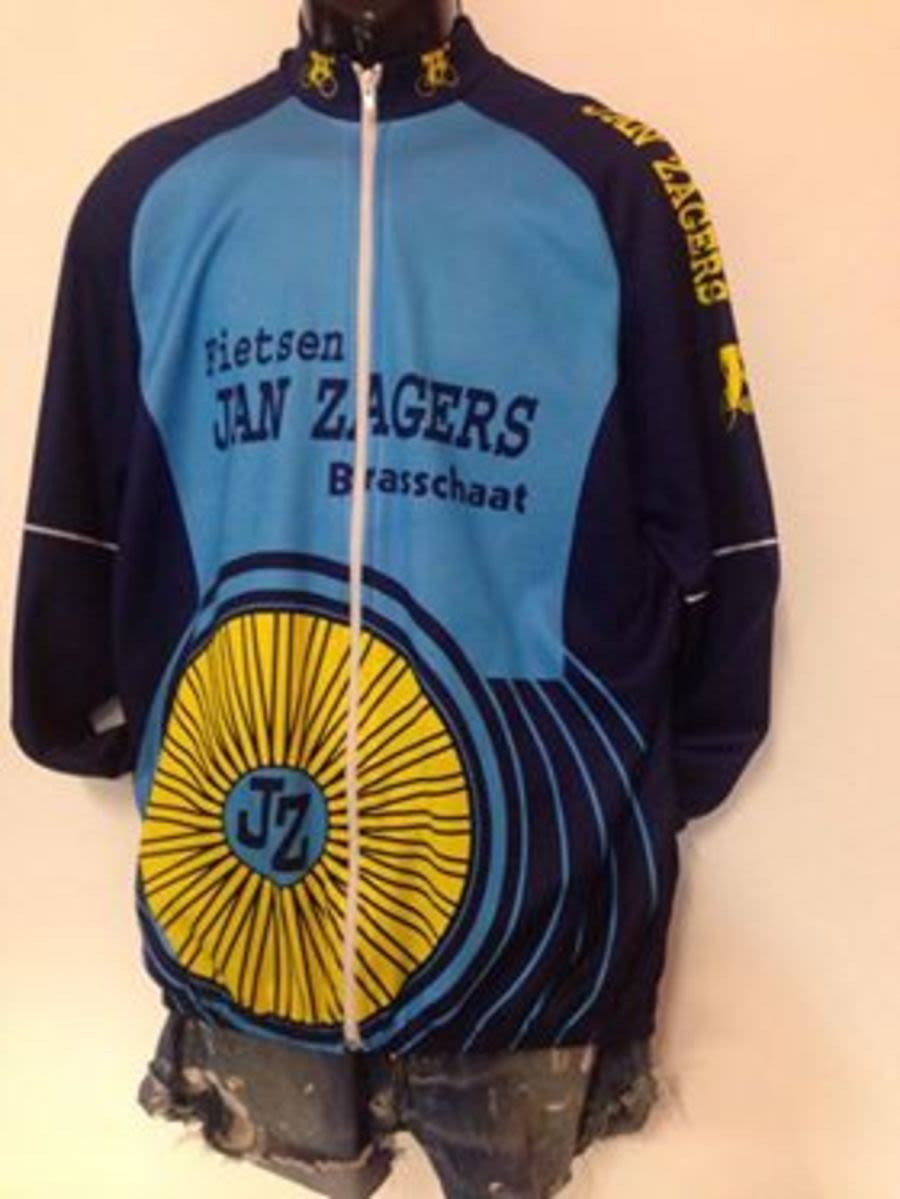 Vintage 1990's Navy Blue, Blue and Yellow Cycling Jacket