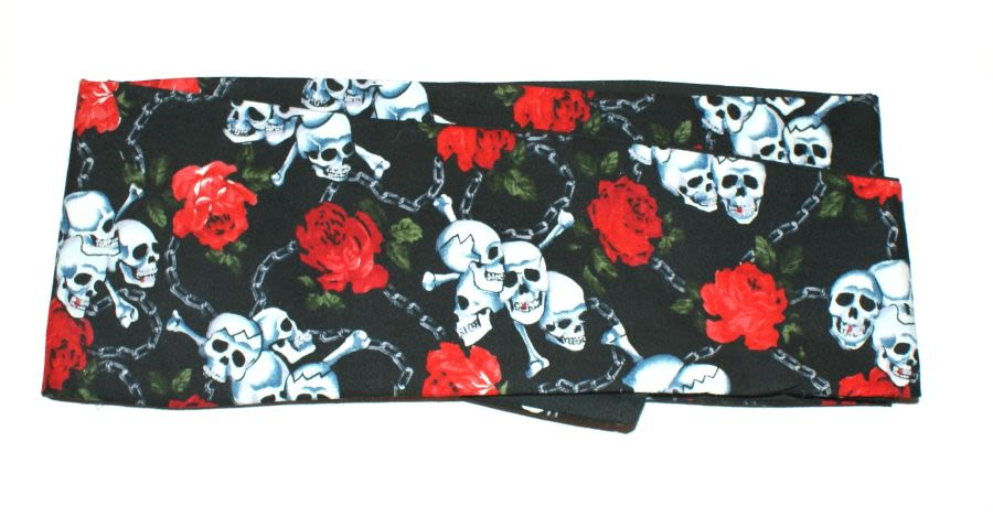 Box of Secrets Black Skull and Rose Headscarf