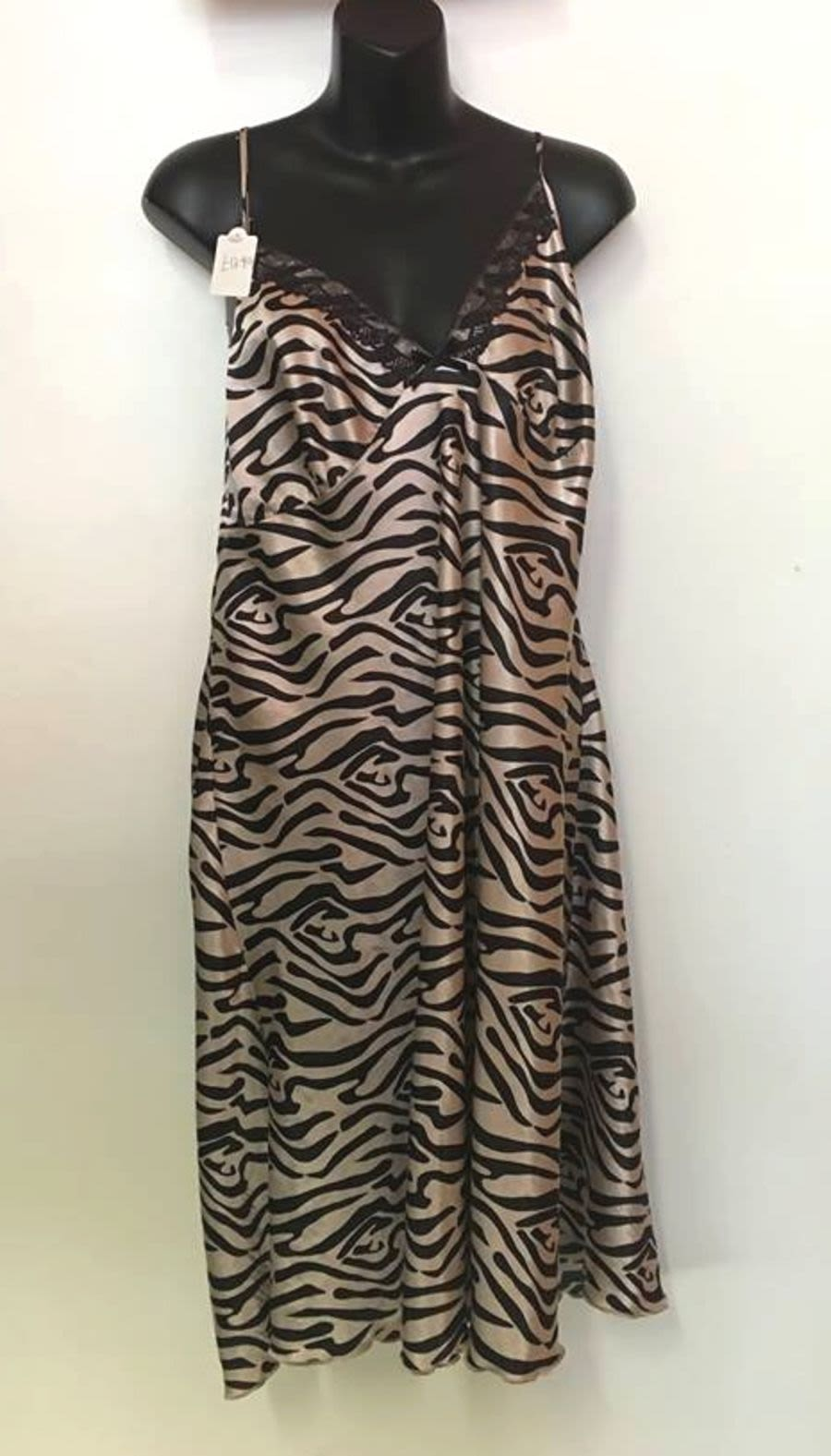 Vintage Womens 1990's Black and White Zebra Print Silk Slip Dress