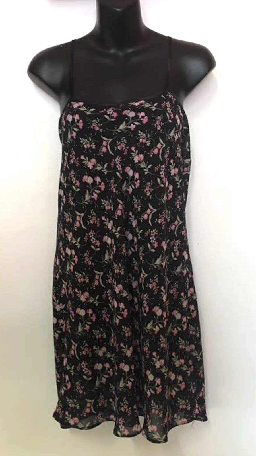 Vintage Womens 1990's Grunge Black and Pink Floral Slip Dress