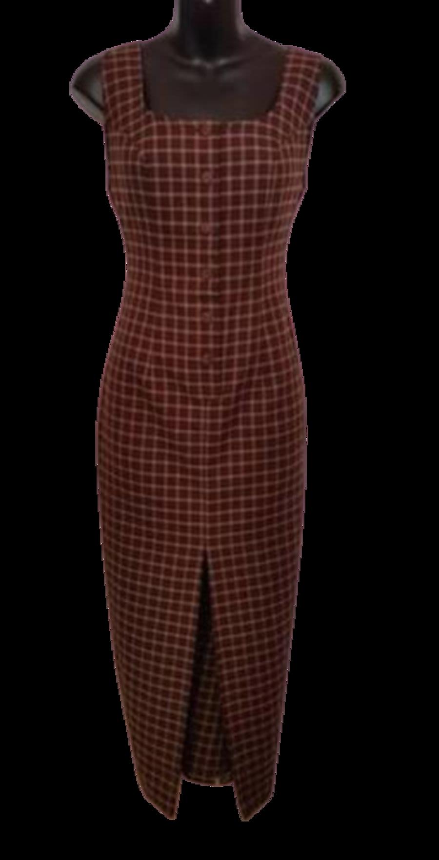 Vintage 90's Brown Tartan Dress