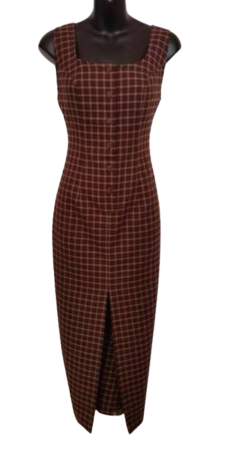 Vintage Womens 1990's Brown Tartan Pencil Dress