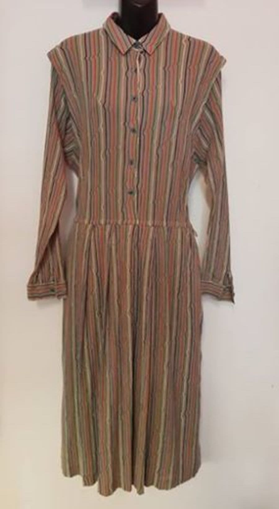Vintage Womens 1970's Colorful Pinstriped Shirt-dress