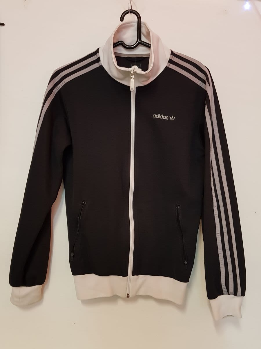 Vintage Womens Black and Grey Cotton Adidas Jacket