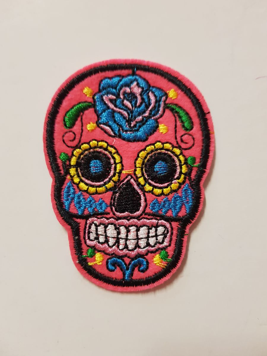 Day Of The Dead Sugar Skull Sew on Iron On Patch Pink