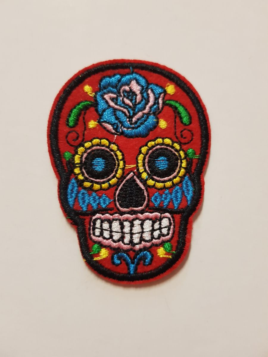 Day Of The Dead Sugar Skull Sew on Iron On Patch Red