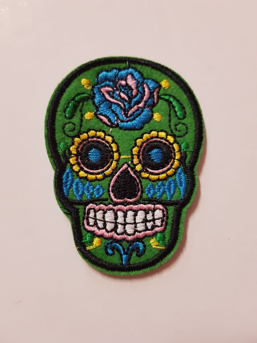Day Of The Dead Sugar Skull Sew on Iron On Patch Green