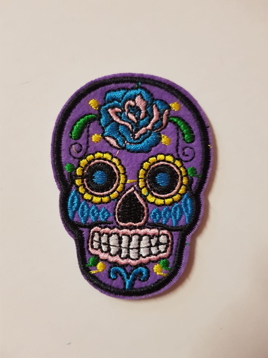 Day Of The Dead Sugar Skull Sew on Iron On Patch Purple