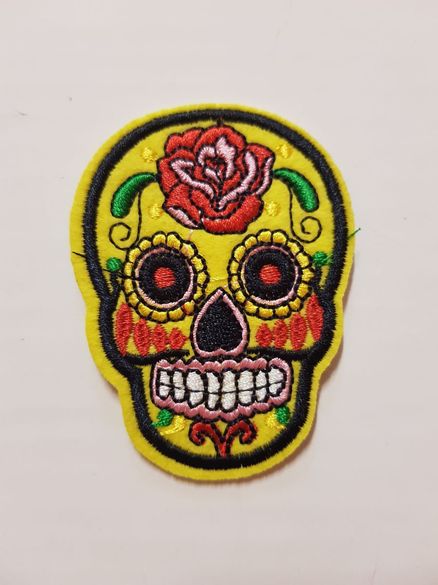 Day Of The Dead Sugar Skull Sew on Iron On Patch Yellow
