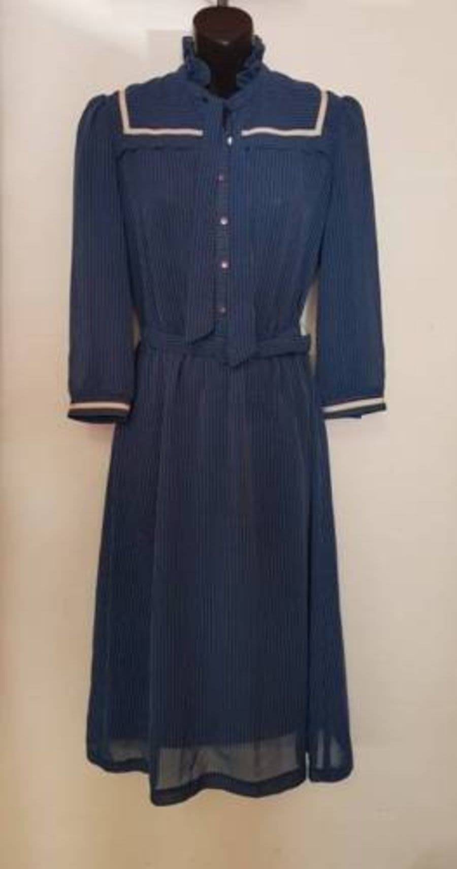 Vintage Womens 1970's Blue Pinstriped Dress