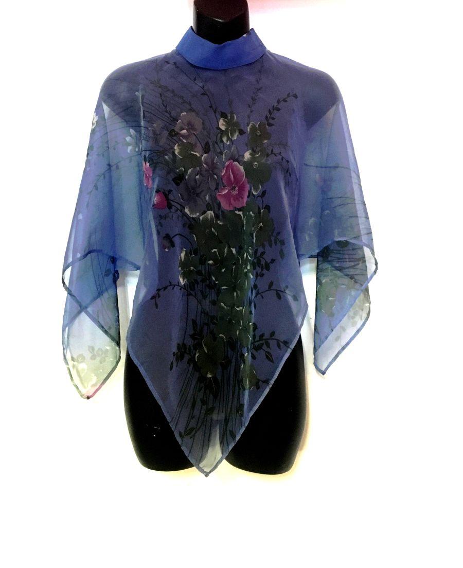 Vintage 1940's Style Floral Blue Cape