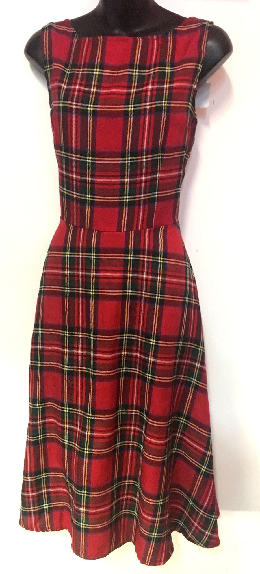 Vintage 1970's Style Punk Red Tartan Swing Dress