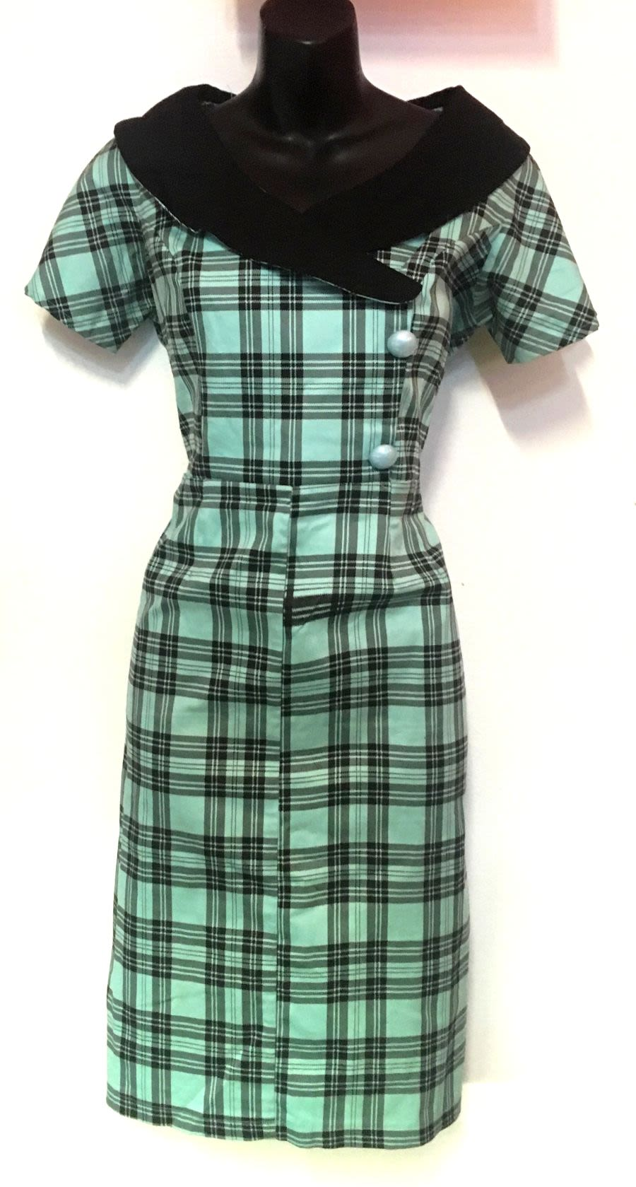 Vintage 1950's Style Baby Blue Tartan Pencil Wiggle Collectif Dress